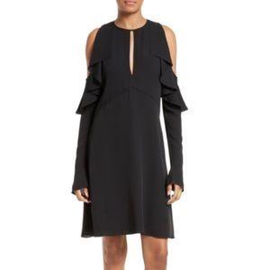 Theory Sophronia Silk Ruffle Bell Sleeve Dress